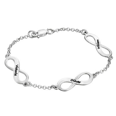 Christmas Gifts For Her - Custom Sterling Silver Link & Chain Name Bracelets Engraved Bracelets