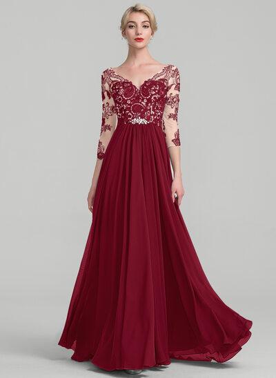 A-Linie V-Ausschnitt Bodenlang Chiffon Spitze Kleid für die Brautmutter