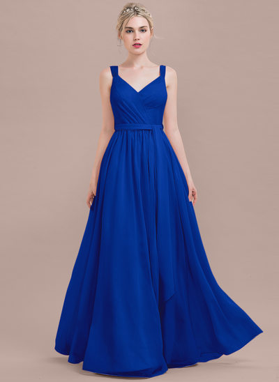 Çan/Prenses V yaka Uzun Etekli Şifon Mezuniyet Elbisesi Ile Büzgü