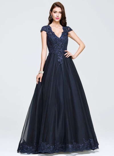 Ball-Gown V-neck Floor-Length Tulle Prom Dresses With Beading Appliques Lace