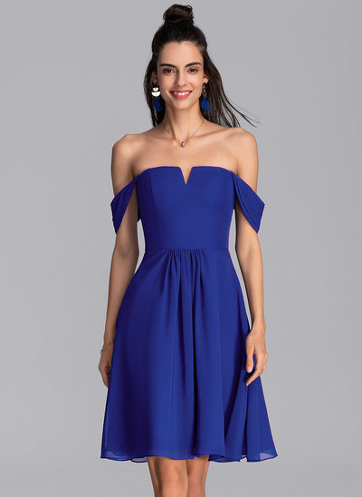 A-Linie Off-the-Schulter Knielang Chiffon Cocktailkleid