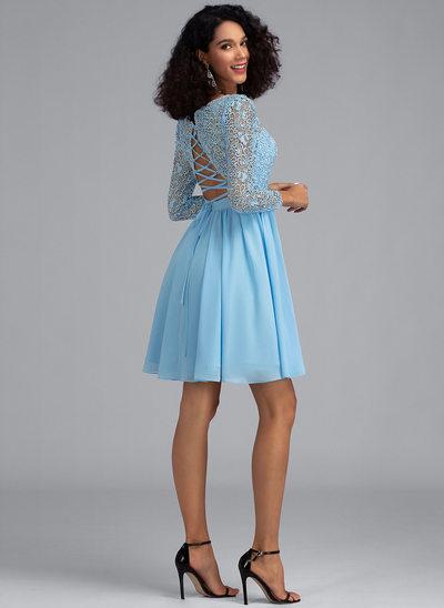 Çan Yuvarlak Yaka Kısa/Mini Şifon Mezunlar Gecesi Elbisesi