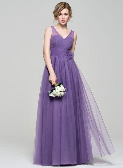 A-Line/Princess V-neck Floor-Length Tulle Bridesmaid Dress With Ruffle Flower(s)