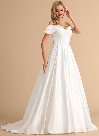 Duchesse-Linie/Princess Off-the-Schulter Hof-schleppe Satin Brautkleid