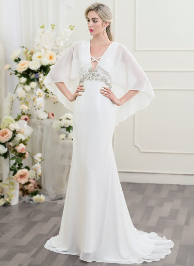 Trumpet/Mermaid V-neck Sweep Train Chiffon Wedding Dress With Ruffle Beading Sequins