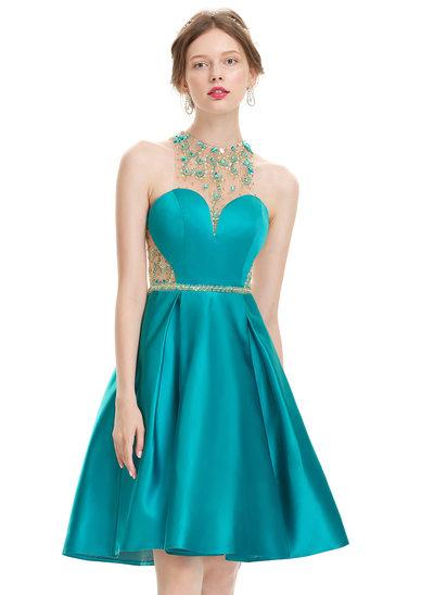 Vestidos princesa/ Formato A Decote redondo Coquetel Cetim Vestido de boas vindas com Beading lantejoulas