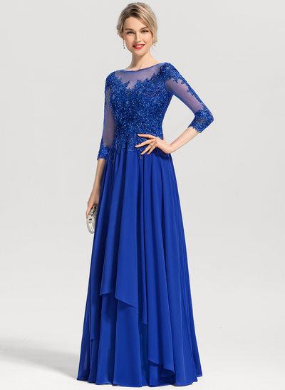 Vestidos princesa/ Formato A Decote redondo Longos Tecido de seda Vestido de festa com Beading