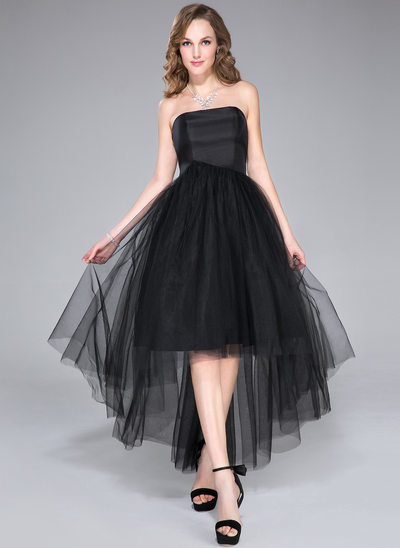 A-Line Strapless Asymmetrical Taffeta Tulle Homecoming Dress