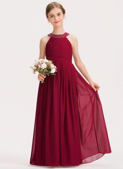 A-Line Scoop Neck Floor-Length Chiffon Junior Bridesmaid Dress With Ruffle Beading Bow(s)