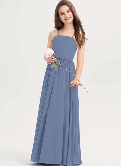 A-linjainen Square Pääntie Lattiaa hipova pituus Sifonki Nuorten morsiusneito mekko jossa Rusetti