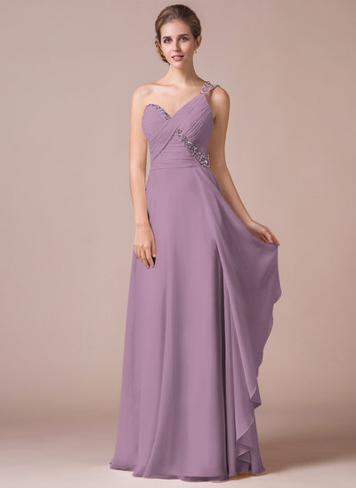 Vestidos princesa/ Formato A Um ombro Longos Tecido de seda Vestido de baile com Pregueado Beading lantejoulas