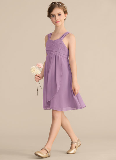 A-Line/Princess Sweetheart Knee-Length Chiffon Junior Bridesmaid Dress With Ruffle