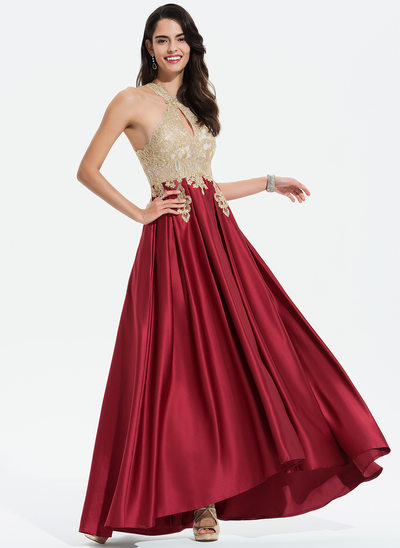 A-Line Scoop Neck Asymmetrical Satin Evening Dress With Lace Beading
