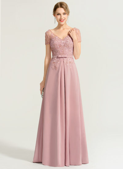 A-Line/Princess V-neck Floor-Length Stretch Crepe Evening Dress With Beading