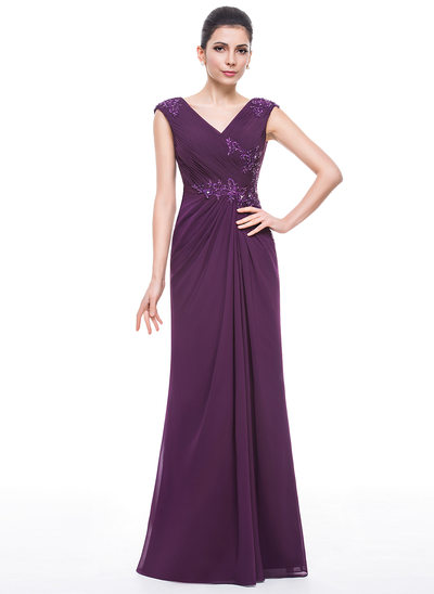 Trumpet/Mermaid V-neck Floor-Length Chiffon Mother of the Bride Dress With Ruffle Beading Appliques Lace Sequins