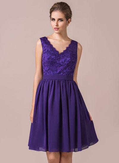 Princesový Véčkový výstřih Po kolena Chiffon Lace Šaty pro družičku