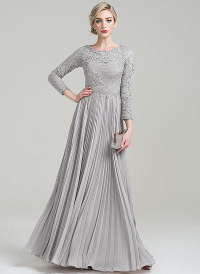 A-Linie/Princess-Linie U-Ausschnitt Bodenlang Chiffon Lace Kleid für die Brautmutter mit Gefaltet
