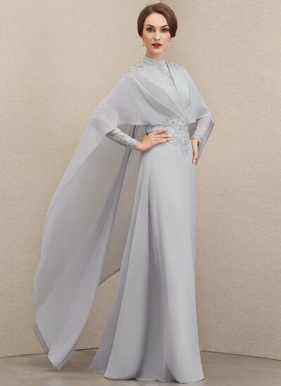 A-Line High Neck Floor-Length Chiffon Lace Mother of the Bride Dress With Ruffle