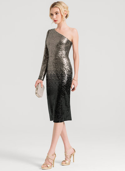 Sheath/Column One-Shoulder Knee-Length Sequined Cocktail Dress