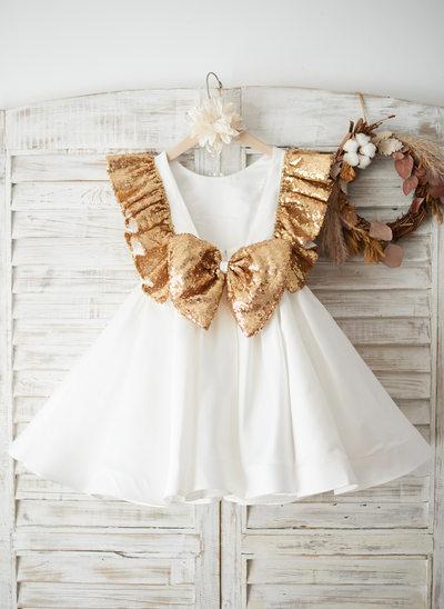 Corte A/Princesa Hasta la rodilla Vestidos de Niña Florista - Satén/Con lentejuelas Sin mangas Escote redondo con Lazo(s)/V vuelta