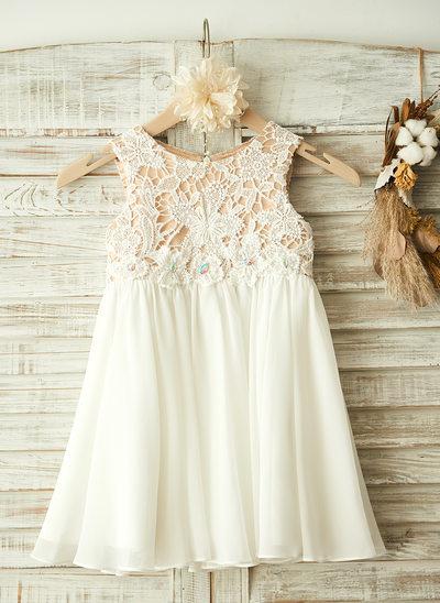 Vestidos princesa/ Formato A Coquetel Vestidos de Menina das Flores - Tecido de seda/Renda Sem magas Decote redondo com Apliques de Renda/Strass