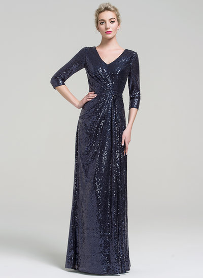 Sheath/Column V-neck Floor-Length Sequined Evening Dress