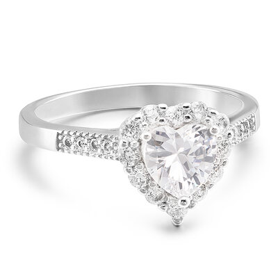 Sterling Silver Cubic Zirconia Halo Heart Cut Engagement Rings Promise Rings -