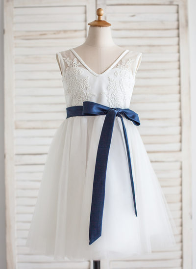 A-Line/Princess Tea-length Flower Girl Dress - Tulle/Lace Sleeveless V-neck With Sash/V Back
