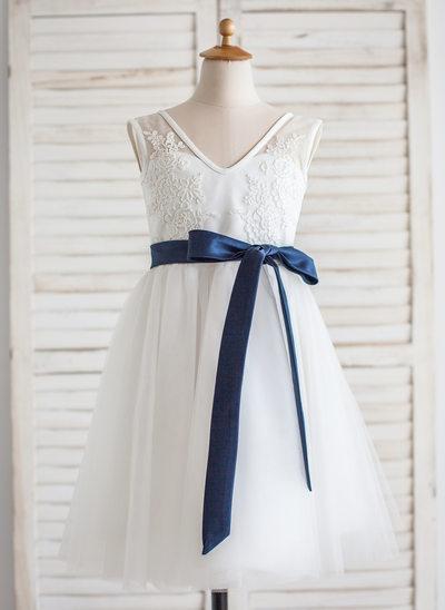 Vestidos princesa/ Formato A Comprimento médio Vestidos de Menina das Flores - Tule/Renda Sem magas Decote V com Cintos/V volta