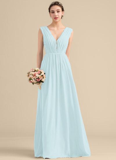 A-Line/Princess V-neck Floor-Length Chiffon Lace Bridesmaid Dress With Ruffle