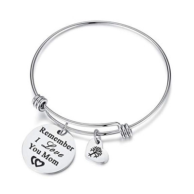Custom Bangle Engraved Bracelets With Heart - Valentines Gifts For Her