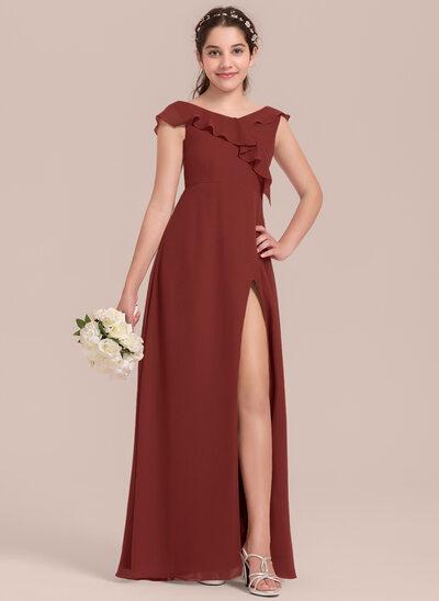 A-linjainen/Prinsessa V-kaula-aukko Lattiaa hipova pituus Sifonki Nuorten morsiusneito mekko jossa Halkio edessä Laskeutuva röyhelö