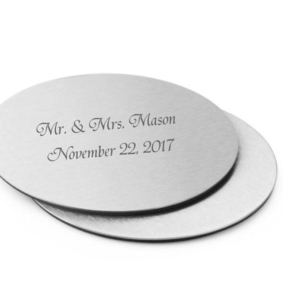 Marié - Personnalisé Style Classique Acier Inoxydable Coaster (Lot de 2)