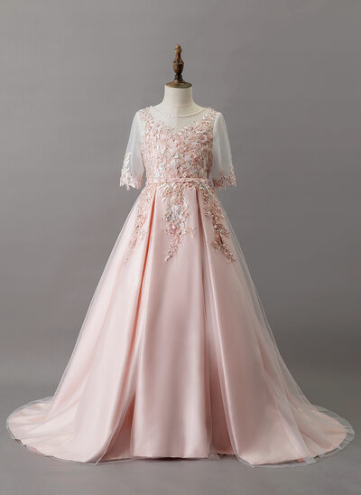 Ball-Gown/Princess Sweep Train Flower Girl Dress - Satin/Tulle/Lace 1/2 Sleeves Scoop Neck With Beading