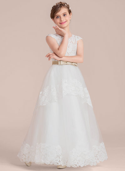 Ball-Gown Scoop Neck Floor-Length Tulle Lace Junior Bridesmaid Dress With Sash Bow(s)