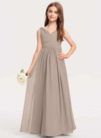 Трапеция V-образный Длина до пола шифон Платье Юнных Подружек Невесты с Рябь