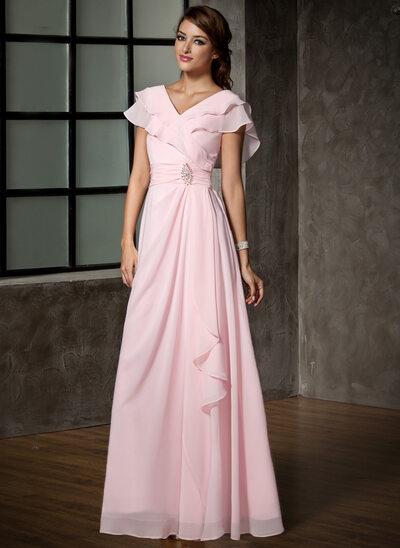 Трапеция/Принцесса V-образный Длина до пола шифон Платье Для Матери Невесты с Булавка с хрустальным цветком Ниспадающие оборки