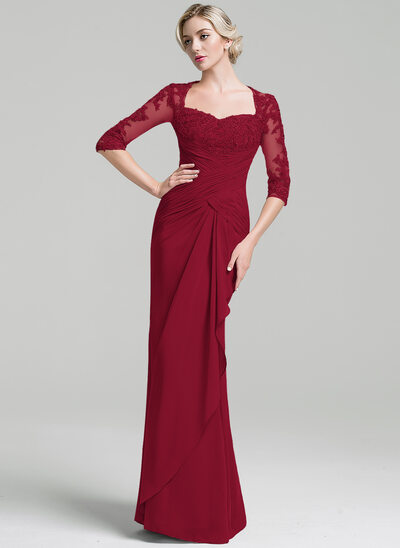 Trompete/Meerjungfrau-Linie Schatz Bodenlang Chiffon Kleid für die Brautmutter mit Rüschen Gestufte Rüschen