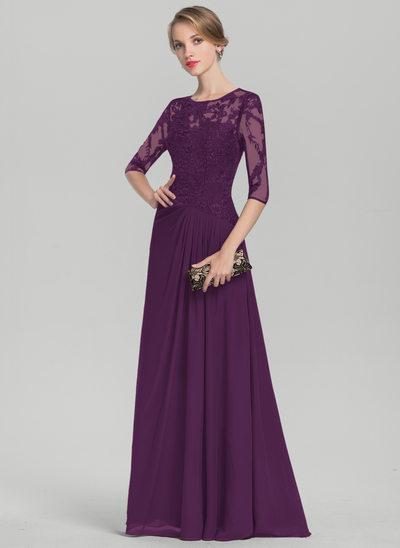 Vestidos princesa/ Formato A Decote redondo Longos Tecido de seda Renda Vestido para a mãe da noiva com Pregueado lantejoulas