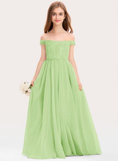 Трапеция Выкл-в-плечо Длина до пола шифон Кружева Платье Юнных Подружек Невесты