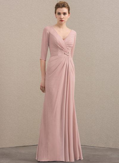 A-Linie/Princess-Linie V-Ausschnitt Bodenlang Chiffon Pailletten Kleid für die Brautmutter mit Rüschen