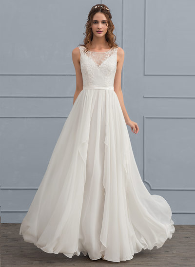 A-Line Illusion Floor-Length Chiffon Wedding Dress With Cascading Ruffles