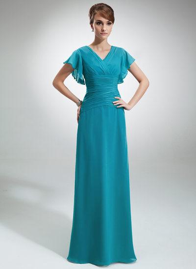 A-Line/Princess V-neck Floor-Length Chiffon Mother of the Bride Dress With Cascading Ruffles