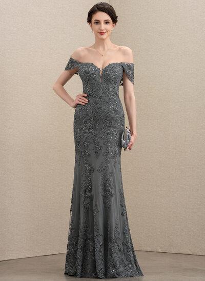 Trompete/Meerjungfrau-Linie Off-the-Schulter Bodenlang Tüll Spitze Kleid für die Brautmutter mit Pailletten