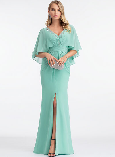 Sheath/Column V-neck Floor-Length Chiffon Evening Dress With Beading Split Front