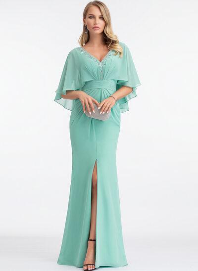 Платье-чехол V-образный Длина до пола шифон Вечерние Платье с развальцовка Разрез спереди