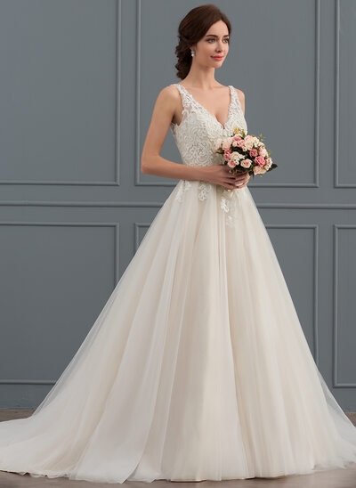 Ball-Gown V-neck Court Train Tulle Wedding Dress