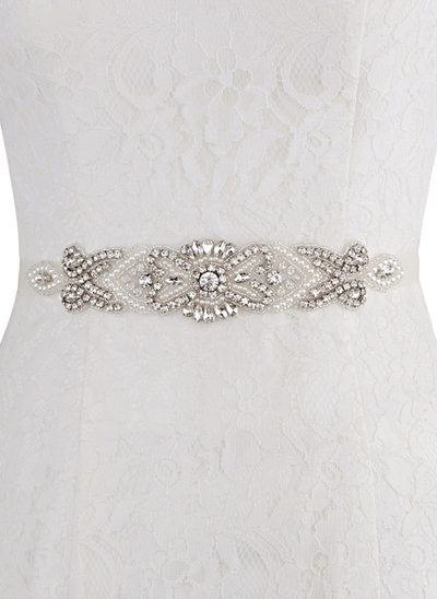 De moda Satén Fajas con Diamantes de imitación