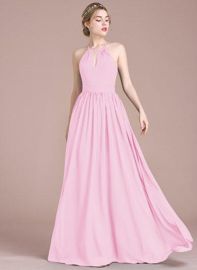 Vestidos princesa/ Formato A Decote redondo Longos Tecido de seda Vestido de baile com Pregueado