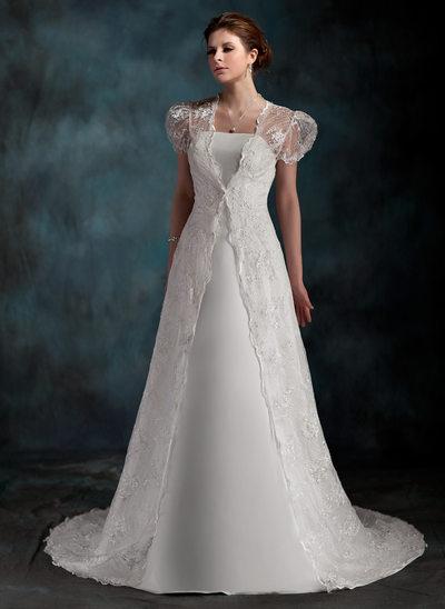 Forme Princesse Sans bretelle Traîne moyenne Satiné Robe de mariée